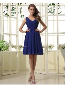Chiffon Natural Knee-length Zipper V-neck Ruffles Royal-Blue Sleeveless A-line Bridesmaid Dress