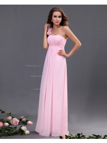 One-Shoulder Ruffles/Flowers/Draped A-line Zipper Chiffon Sleeveless Natural Floor-length Pink Bridesmaid Dress