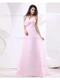 Natural Ruffles/Flowers/Draped Pink Zipper Floor-length Chiffon One-Shoulder A-line Sleeveless Bridesmaid Dress
