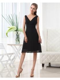 Natural Black A-line Sleeveless V-neck Knee-length Ruffles Chiffon Zipper Bridesmaid Dress