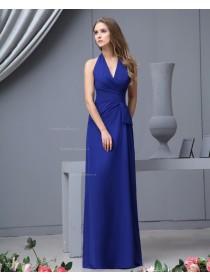 Sleeveless V-neck Chiffon Zipper Natural Royal-Blue Ruffles/Bow Floor-length A-line Bridesmaid Dress