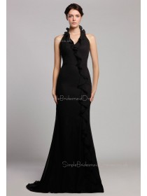 Floor-length Halter Zipper Black Chiffon Mermaid Dropped Sleeveless Tiered Bridesmaid Dress