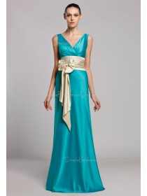 Natural Sheath V-neck Bow/Ruffles/Sash Floor-length Zipper Blue Sleeveless Elastic-Satin Bridesmaid Dress