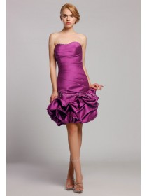 Natural Short-length Sweetheart Mini Grape Taffeta Zipper Sleeveless Ruffles/Pick-ups Bridesmaid Dress