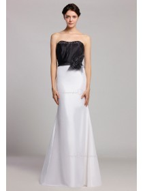 Ruffles/Flowers Sweetheart White/Black Natural Zipper Floor-length Taffeta Sleeveless Mermaid Bridesmaid Dress