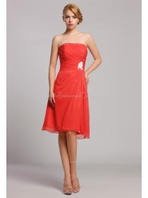 Strapless Knee-length Zipper A-line Red Natural Ruffles/Beading Chiffon Sleeveless Bridesmaid Dress