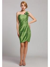 Green Mini Natural One-Shoulder Sleeveless Satin Zipper Short-length Ruffles/Flowers Bridesmaid Dress