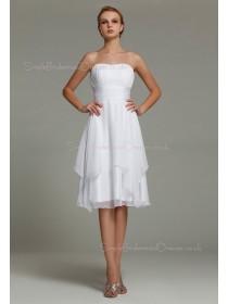 Zipper A-line Knee-length Natural Strapless Ruffles/Tiered Chiffon Sleeveless White Bridesmaid Dress