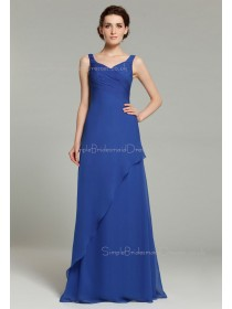 Royal-Blue Floor-length Zipper Ruffles/Tiered A-line Sleeveless Natural Organza V-neck Bridesmaid Dress