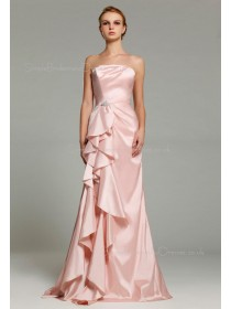 Natural Taffeta Zipper Tiered/Ruffles A-line Strapless Floor-length Sleeveless Pearl-Pink Bridesmaid Dress