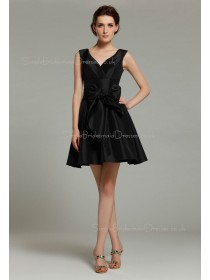 Sleeveless Ruffles/Bow V-neck Black Natural Short-length Taffeta Mini Zipper Bridesmaid Dress