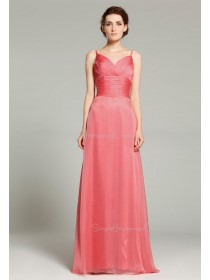 Zipper Spaghetti-Straps Floor-length Chiffon Sleeveless A-line Natural Watermelon Ruffles Bridesmaid Dress