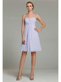 Zipper Lavender A-line Sleeveless Ruffles/Sash Empire Knee-length Chiffon Sweetheart Bridesmaid Dress