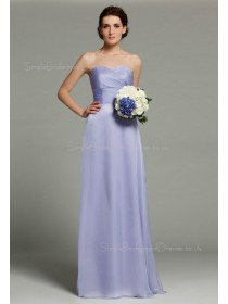 Zipper Floor-length Ruffles/Sash/Bow Sleeveless Natural Sweetheart A-line Chiffon Lilac Bridesmaid Dress