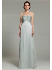 Sweetheart Sleeveless Empire Ruffles Silver Chiffon Zipper Floor-length A-line Bridesmaid Dress