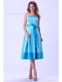 Natural Bow/Sash Zipper Knee-length Strapless Satin Blue Sleeveless A-line Bridesmaid Dress