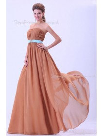 Sleeveless Natural Knee-length Brown Chiffon Ruffles/Sash/Drapes A-line Zipper Strapless Bridesmaid Dress