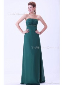 Dark-Green Floor-length Sleeveless Empire Zipper Ruffles/Beading Sheath Chiffon Strapless Bridesmaid Dress