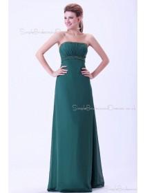 Dark-Green Floor-length Sleeveless Empire Zipper Ruffles/Beading Sheath Chiffon Strapless Bridesmaid Dress