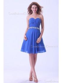 Sweetheart Chiffon Blue A-line Zipper Sleeveless Natural Short-length Ruffles/Beading Bridesmaid Dress