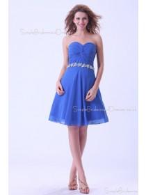 Sweetheart Chiffon Blue A-line Zipper Sleeveless Natural Short-length Ruffles/Beading Bridesmaid Dress