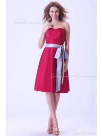 Sweetheart Sleeveless A-line Ruffles/Sash Burgundy Taffeta Zipper Natural Knee-length Bridesmaid Dress