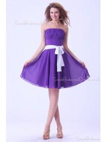 Natural Strapless Regency Short-length Zipper Sleeveless Chiffon Mini Ruffles/Sash Bridesmaid Dress