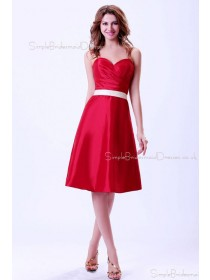 Sweetheart Natural Zipper Red Ruffles/Sash Taffeta A-line Sleeveless Knee-length Bridesmaid Dress