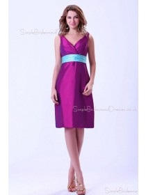 Ruffles/Sash Grape Natural Sleeveless Knee-length Taffeta Zipper Mini V-Neck Bridesmaid Dress