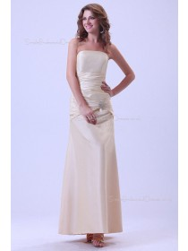 Sleeveless Satin Floor-length Up Ruffles Lace Champagne Strapless Sheath Natural Bridesmaid Dress