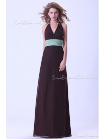 Halter A-line Chiffon Sleeveless Natural Ruffles/Sash Backless Champagne Floor-length Bridesmaid Dress