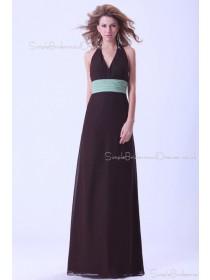 Halter A-line Chiffon Sleeveless Natural Ruffles/Sash Backless Champagne Floor-length Bridesmaid Dress
