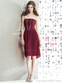 Zipper burgundy Sleeveless burgundy Knee-length Ruched Natural A-line Strapless Chiffon Bridesmaid Dress