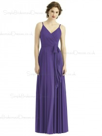 Amazing Regebcy Chiffon Long V neck Spaghetti Straps Zipper back Bridesmaid Dress