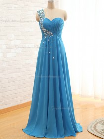 2016 Elegant Light Sky Blue Beading Long Chiffon Bridesmaid Dresses