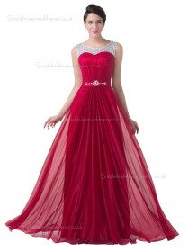 UK Elegant Red Chiffon Floor Length Long Bridesmaid dress