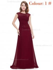 Burgundy Online Amazing Round Neck Long Elegant Sexy Bridesmaid  Dress