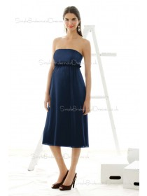A-line  Sash Chiffon Strapless Knee-length Blue Sleeveless Zipper Empire Maternity Bridesmaid Dresses