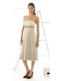 A-line  Draped , Ruffles Chiffon Strapless Tea-length White Sleeveless Zipper Natural Maternity Bridesmaid Dresses
