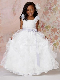 Gown Bowknot / Belt / Applique / Tiered White Shaped Organza U Floor-length Ball Neck Flower Girl Dress