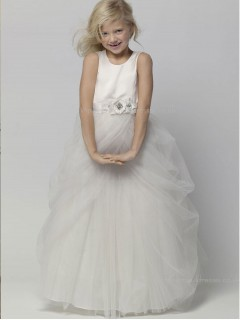 Ivory A-line Hand Floor-length Scoop Flower Organza / Satin Sleeveless Made Flower Girl Dress