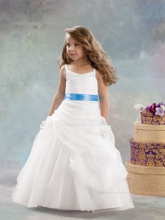 White Flower Sleeveless Organza Made Floor-length A-line Tiered / Hand V-neck Flower Girl Dress