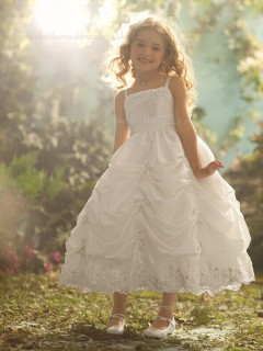 Ivory Ankle Taffeta Length Lace / Beading Ball Gown Bateau Sleeveless Flower Girl Dress
