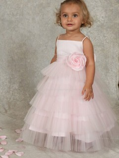Organza Flower / Tiered A-line Sleeveless Made Bateau Pearl Floor-length Hand Flower Girl Dress