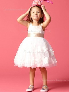 Hand Ivory Made Gown Ball Neck U Flower / Sash Satin Flower Girl Dress