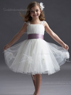 Bateau White Knee-length Organza Flower / Sash Made Sleeveless A-line Tiered / Hand Flower Girl Dress