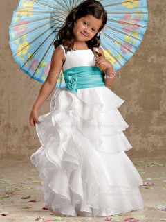 Floor-length Bateau White Organza Column / Sheath Flower / Tiered Sleeveless Hand Made Flower Girl Dress