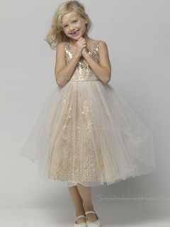 Bateau A-line Tea-length Sleeveless Sequin Champagne Organza Flower Girl Dress