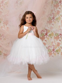 Gown Made Sleeveless Organza Bateau Knee-length Flower White Hand Flower Girl Dress