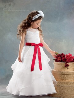 Bowknot / Tiered Scoop Sleeveless A-line Organza Floor-length White Flower Girl Dress